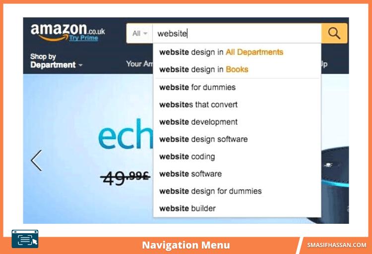 Amazon website Navigation Menu auto complete search